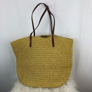 J.Crew Straw Tote Bag with Leather Straps